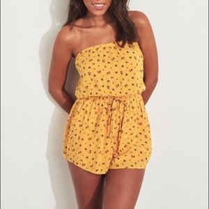 Hollister Yellow Floral Strapless Romper